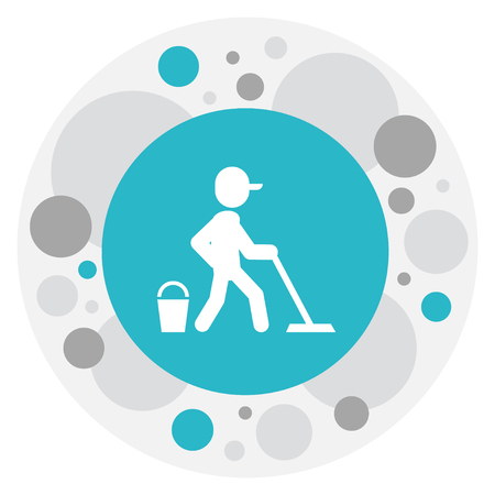 Vector Illustration Of Hygiene Symbol On Mopping Icon. Premium Quality Isolated Cleaner  Element In Trendy Flat Style. Illustration