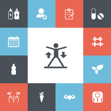 bathroom scale: Set Of 13 Editable Lifestyle Icons. Includes Symbols Such As Profile, Date Plan, Hand Barbell. Can Be Used For Web, Mobile, UI And Infographic Design.