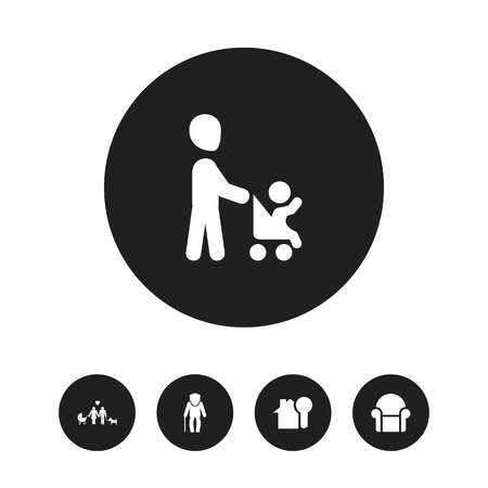 Set Of 5 Editable Folks Icons. Includes Symbols Such As Grandpa , Grandson, House Key. Can Be Used For Web, Mobile, UI And Infographic Design. Ilustração