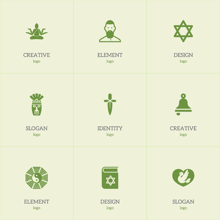 Set Of 9 Editable Dyne Icons. Includes Symbols Such As Hexagram, Muslim, Dove And More. Can Be Used For Web, Mobile, UI And Infographic Design.