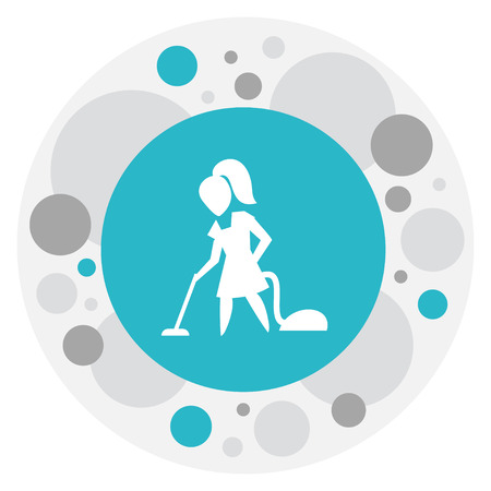 Vector Illustration Of Hygiene Symbol On Vacuuming Woman Icon. Premium Quality Isolated Floor Dusting Element In Trendy Flat Style.