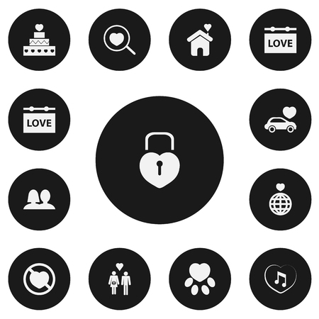 Set Of 13 Editable Heart Icons. Includes Symbols Such As World, Loupe, Wedlock And More. Can Be Used For Web, Mobile, UI And Infographic Design.