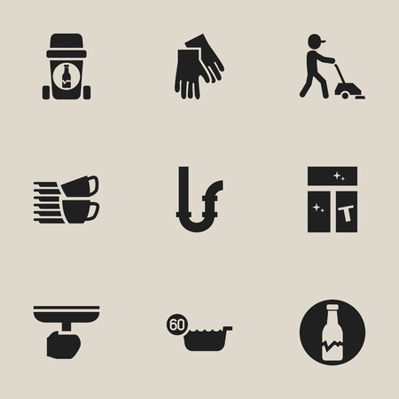 Set Of 9 Editable Hygiene Icons. Includes Symbols Such As 60 Degrees, Housekeeper, Dishes Pile And More. Can Be Used For Web, Mobile, UI And Infographic Design.