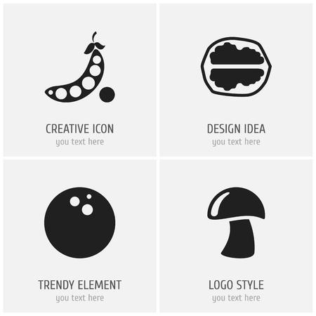 Set Of 4 Editable Kitchenware Icons.