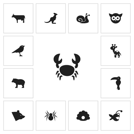 Set Of 13 Editable Animal Icons, Includes Symbols Such As Arachnid, Fish, Kine And More Can Be Used For Web, Mobile, UI And Infographic Design. Illustration