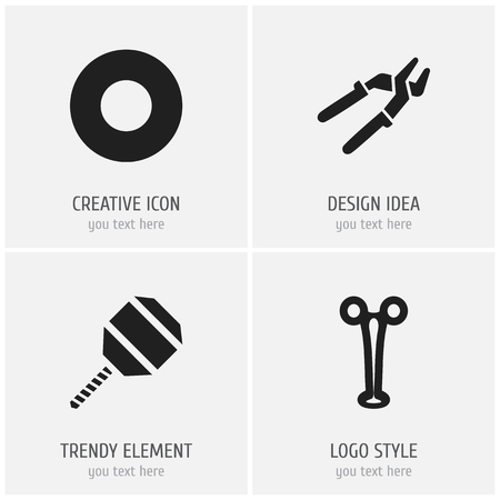 Set Of 4 Editable Apparatus Icons, Includes Symbols Such As Press Instrument,  Excavate And More