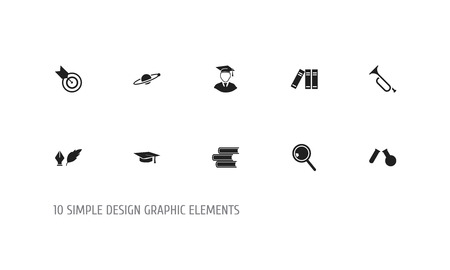 Set Of 10 Editable Science Icons. Includes Symbols Such As Literature, Diplomaed Male, Dartboard And More. Can Be Used For Web, Mobile, UI And Infographic Design. 일러스트