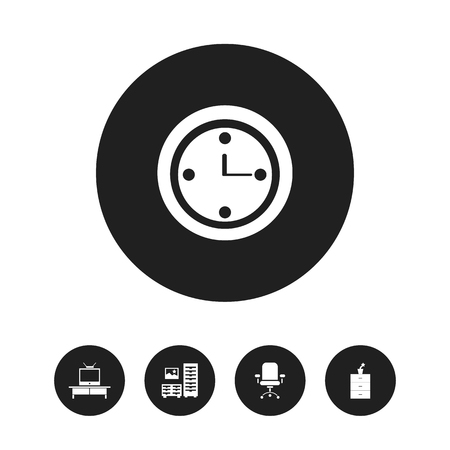 Set Of 5 Editable Furniture Icons. Includes Symbols Such As Watch, Ergonomic Seat, Tv And More. Can Be Used For Web, Mobile, UI And Infographic Design.