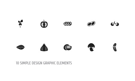 Set Of 10 Editable Food Icons. Includes Symbols Such As Cherry, Pistachio, Cocos And More. Can Be Used For Web, Mobile, UI And Infographic Design.