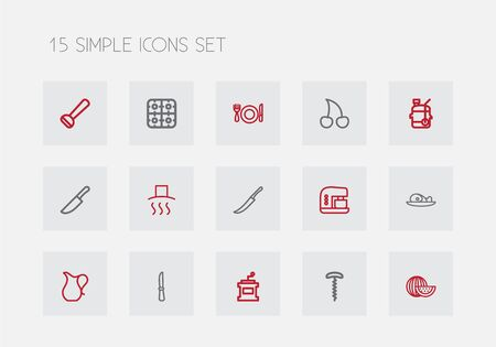 ewer: Set Of 15 Editable Cooking Outline Icons.
