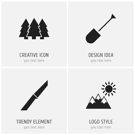 Set Of 4 Editable Travel Icons.