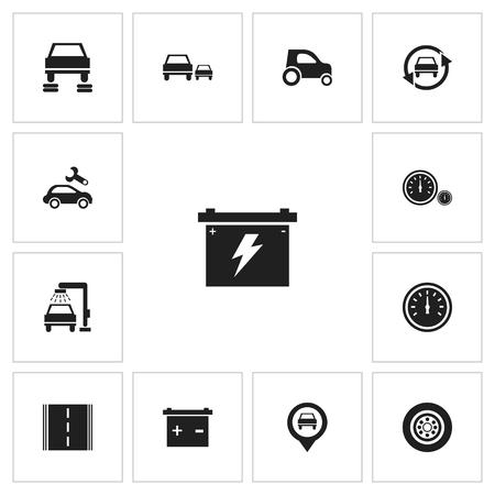car wash: Set of 13 Editable Vehicle Icons.