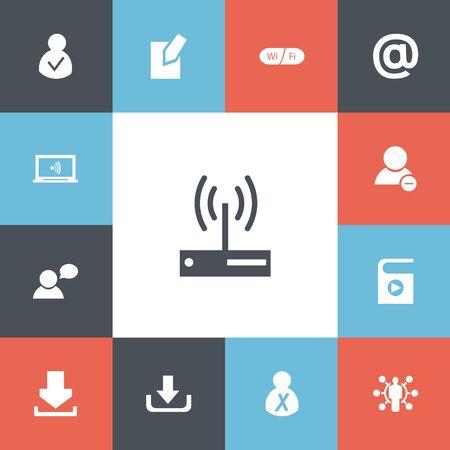 Set van 13 bewerkbare internet iconen.