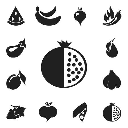 Set Of 12 Editable Fruits Icons.