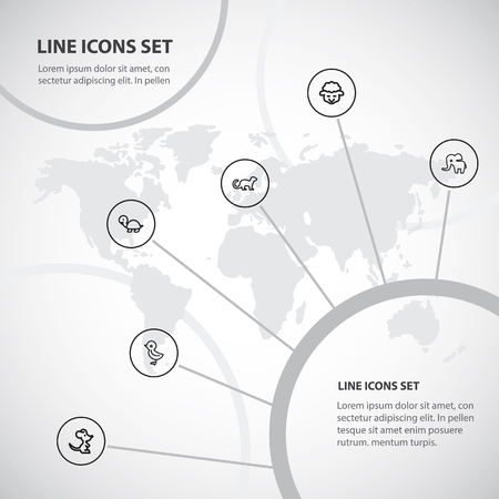 Set Of 6 Editable Zoo Outline Icons.