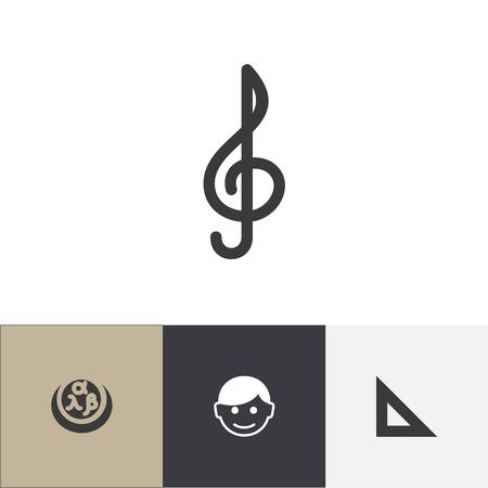 Set Of 4 Editable Science Icons Includes Symbols Such As Scholar, Trigon, Quaver And More.