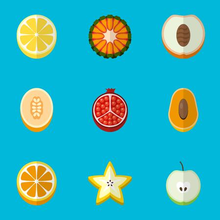 Set Of 9 Editable Fruits Flat Icons Illustration