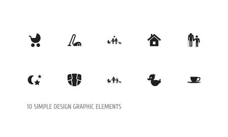 Set Of 10 Editable Folks Icons Ilustração