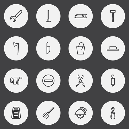 Set Of 16 Editable Tools Outline Icons