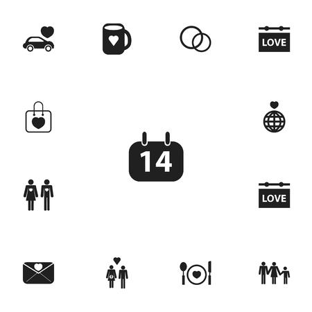 Ensemble de 13 icônes d'amour modifiables