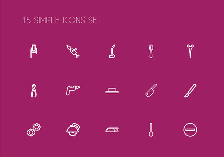 Set Of 15 Editable Tools Outline Icons