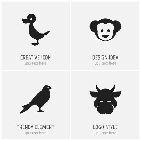 Set Of 4 Editable Zoology Icons