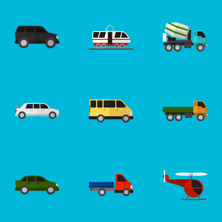 Set Of 9 Editable Vehicle Flat Icons. Includes Symbols Such As Chopper, Limousine, Truck And More. Can Be Used For Web, Mobile, UI And Infographic Design. Illustration
