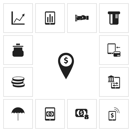 Set Of 13 Editable Investment Icons. Includes Symbols Such As Monitoring, Transfer, Pouch And More Ilustração