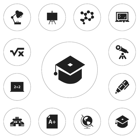 notebook: Set of 12 editable knowledge icons. Includes symbols such as calligraphy, blackboard, painters stand Illustration
