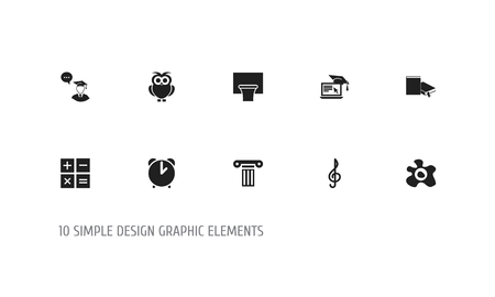 countdown: Set Of 10 Editable Teach Icons. Includes Symbols Such As Pillar, Bookmark, Graduate Student And More