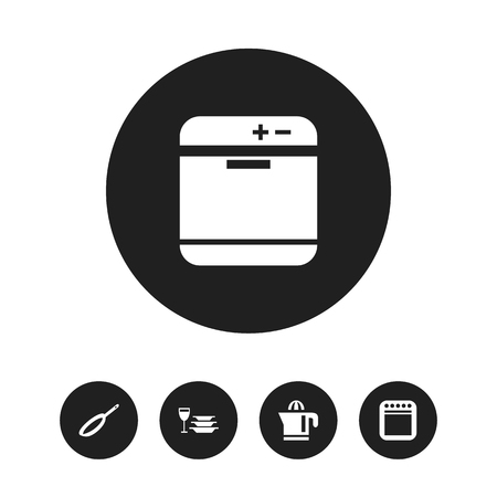 Set Of 5 Editable Kitchen Icons. Includes Symbols Such As Plates With Glass, Stove, Juicer And More
