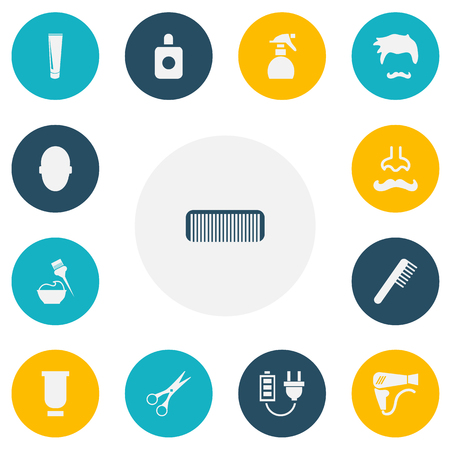 dryer: Set Of 13 Editable Coiffeur Icons. Includes Symbols Such As Hairbrush, Shear, Tube And More
