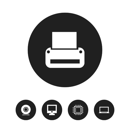 notebook: Set Of 5 Editable Computer Icons. Includes Symbols Such As Printing Machine, Display, Screen And More Illustration