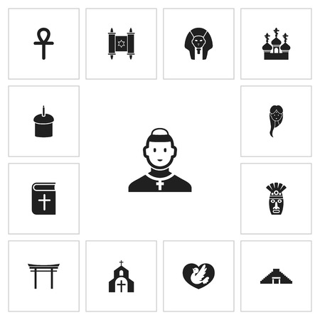 Set Of 13 Editable Dyne Icons. Includes Symbols Such As Christian Book, David Star, Religious Sewn And More