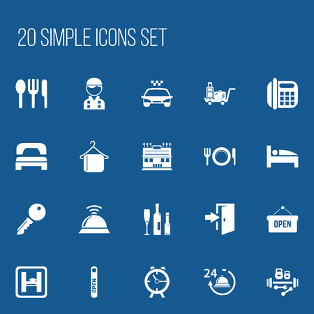 clock: Set Of 20 Editable Travel Icons. Includes Symbols Such As Opened Placard, Service Bell, Transport Car And More