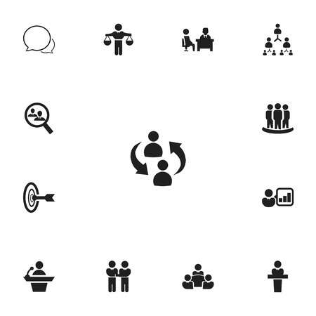 web marketing: Set Of 13 Editable Cooperation Icons. Includes Symbols Such As Goal, Command, Finding Solution