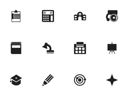 accessory: Set Of 12 Editable School Icons. Includes Symbols Such As Calculate, Supervision List, Ceremony And More Illustration