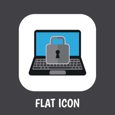notebook: Vector Illustration Of Security Symbol On Laptop Flat Icon
