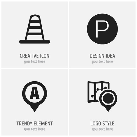 park: Set Of 4 Editable Location Icons. Includes Symbols Such As Gps, Road Sign, Marker And More Illustration