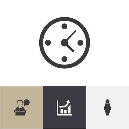 clock: Set Of 4 Editable Business Icons. Includes Symbols Such As Job Woman, Statistics, Clock And More Illustration