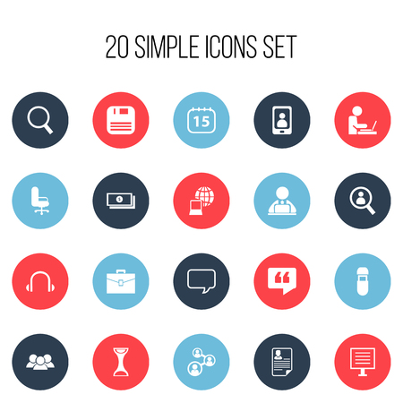 clock: Set Of 20 Editable Office Icons. Includes Symbols Such As Worker In Laptop, Sandglass, Document