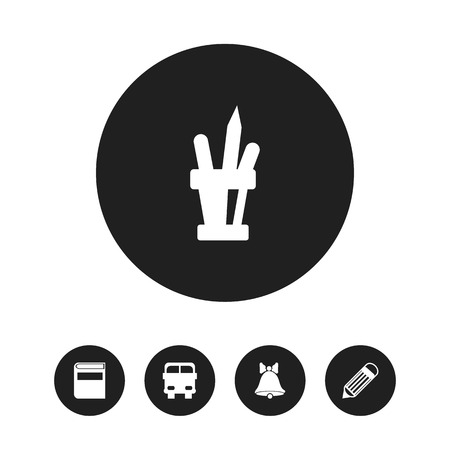 notebook: Set Of 5 Editable Knowledge Icons. Includes Symbols Such As Pen Holder, Jingle, Transport Vehicle And More