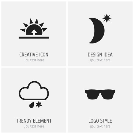 accessory: Set Of 4 Editable Weather Icons. Includes Symbols Such As Eyeglasses, Morning, Night Sky And More