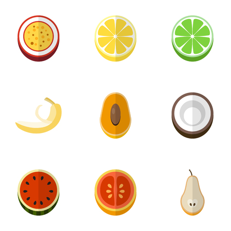 Set Of 9 Editable Berry Flat Icons. Includes Symbols Such As Marakuja, Juicy, Lemon And More