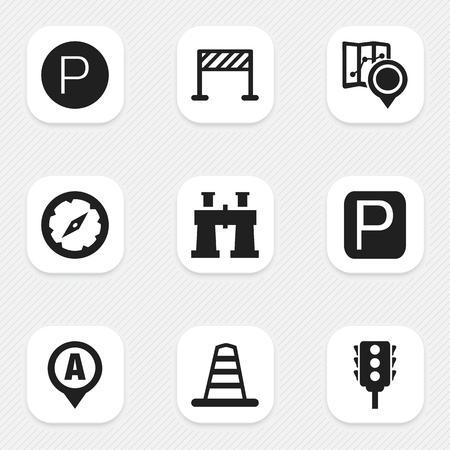 Set of 9 Editable Navigation Icons.