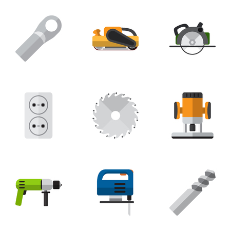 Set Of 9 Editable Instruments Flat Icons. Includes Symbols Such As Socket , Sandblast, Cutting