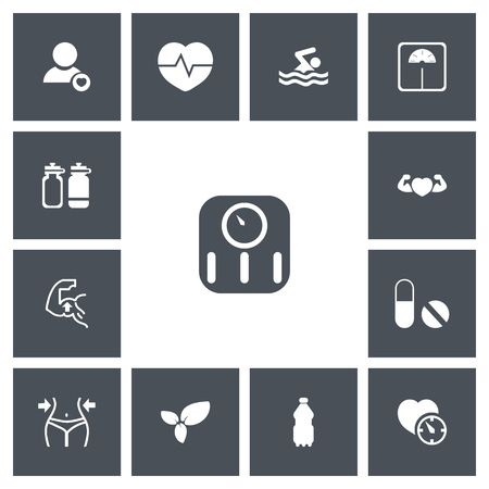 fitness equipment: Set Of 13 Editable Fitness Icons. Includes Symbols Such As Heartbeat, Sport Water, Profile And More Illustration