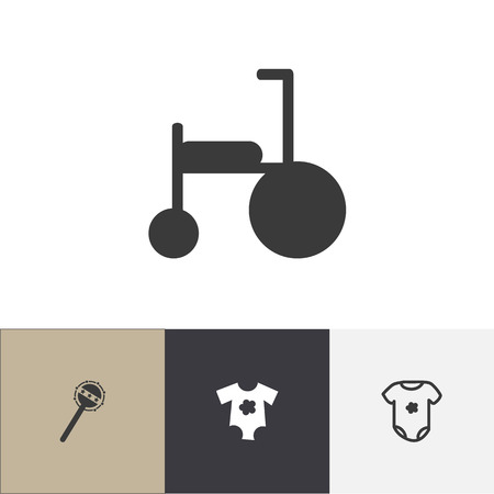 baby toy: Set Of 4 Editable Baby Icons. Includes Symbols Such As Cotton Apparel, Bike, Maraca And More