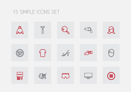 accessory: Set of 15 Editable Trade Outline Icons.