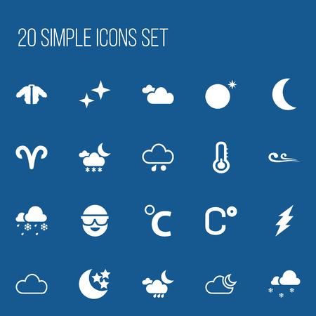 accessory: Set of 20 Editable Weather Icons. Illustration